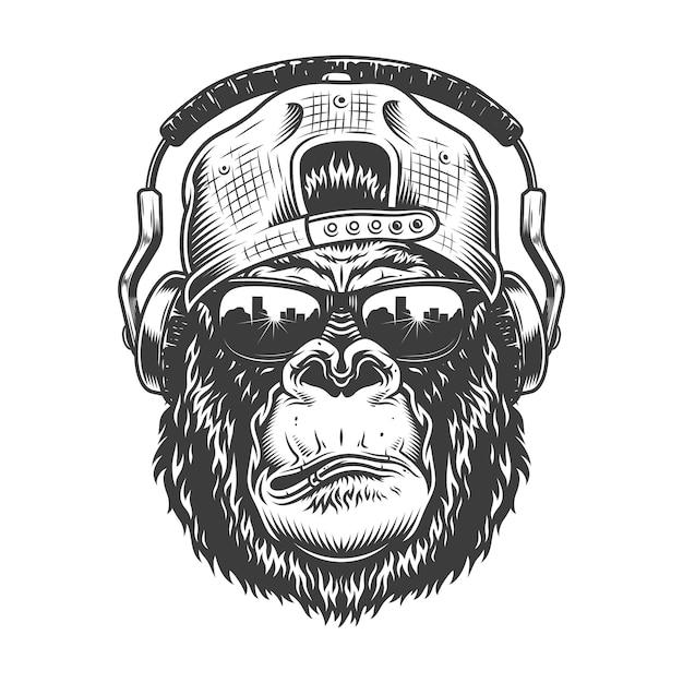 Cabeça de gorila em estilo monocromático Vetor grátis