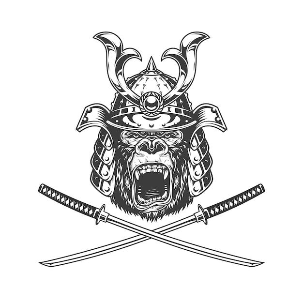 Cabeça de gorila feroz no capacete samurai Vetor grátis