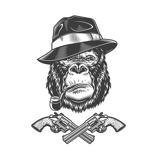 Cabeça de gorila vintage gangster grave monocromático Vetor grátis