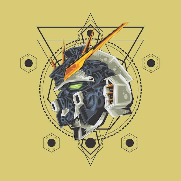 Cabeça de guerreiro de robô Vetor Premium