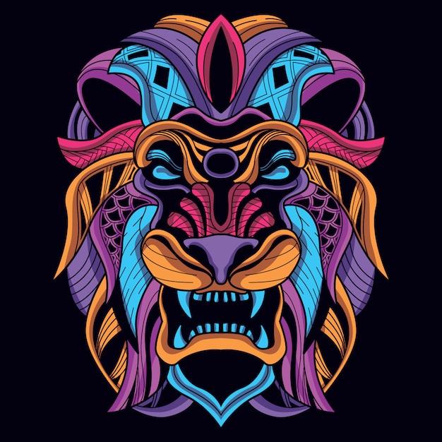 Cabeça de leão decorativo da cor neon Vetor Premium