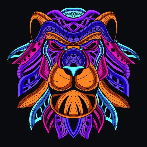 Cabeça de leão decorativo na cor neon de brilho Vetor Premium