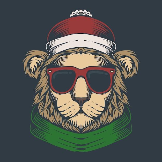 Cabeça de leão ilustração de natal Vetor Premium