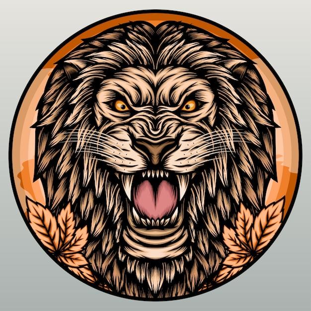 Cabeça de leão incrível. Vetor Premium