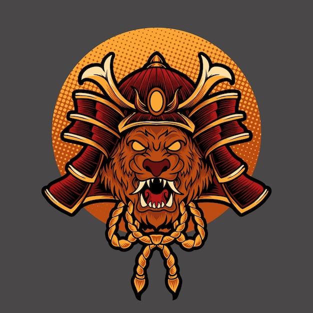Cabeça de leão samurai Vetor Premium