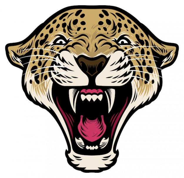 Cabeça de leopardo rugindo Vetor Premium