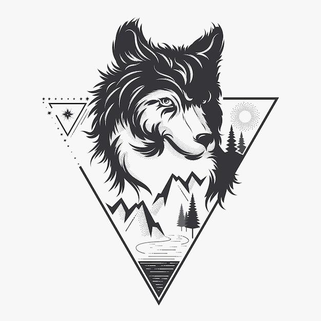 Cabeça de lobo com a natureza Vetor Premium
