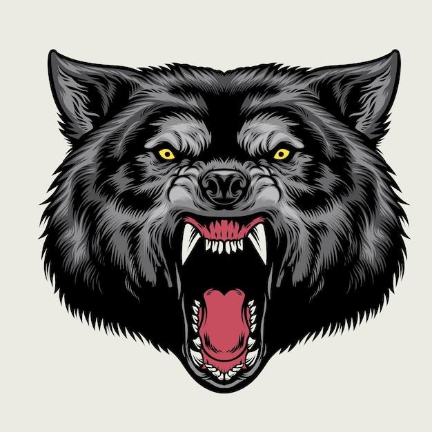 Cabeça de lobo com raiva na mão desenhada estilo ilustração plana Vetor Premium