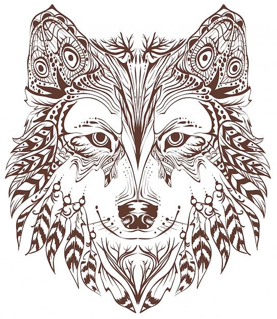 Cabeça de lobo em estilo étnico Vetor Premium