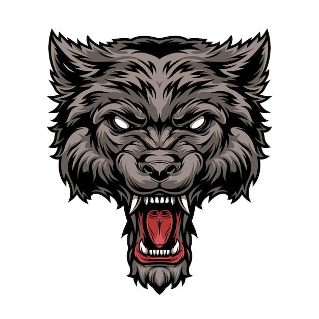 Cabeça de lobo feroz assustador perigoso colorido Vetor grátis