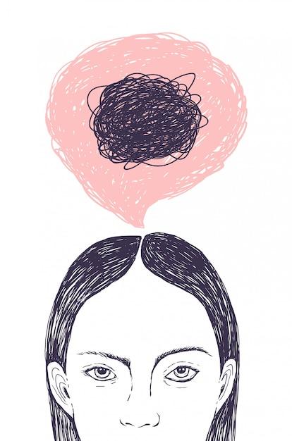 Cabeça de mulher, balão de pensamento e rabiscos dentro dela mão desenhada com linhas de contorno Vetor Premium