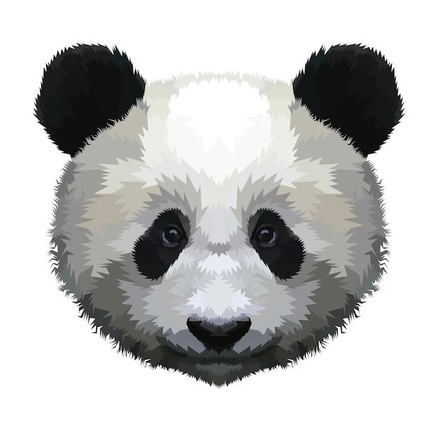 Cabeça de panda isolada em um fundo branco Vetor Premium