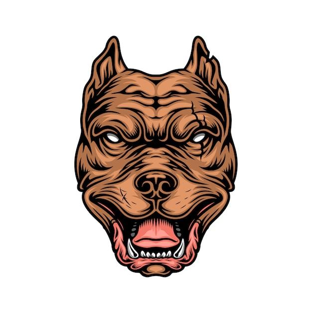 Cabeça de pitbull cruel colorido vintage Vetor grátis