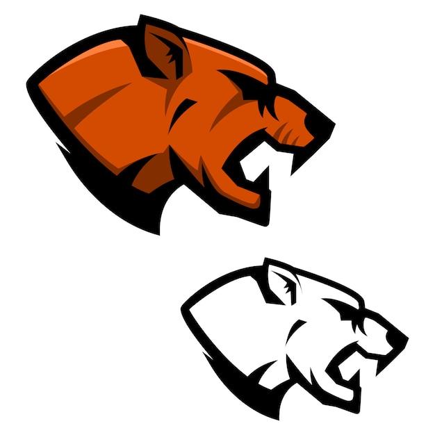 Cabeça de puma. modelo de mascote de equipe de esporte. elemento para o logotipo, etiqueta, emblema, sinal. ilustração Vetor Premium