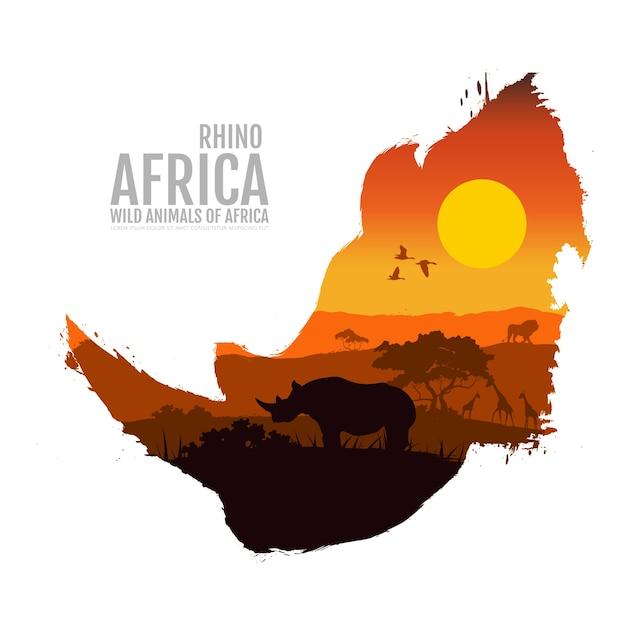 Cabeça de rinoceronte Vetor Premium
