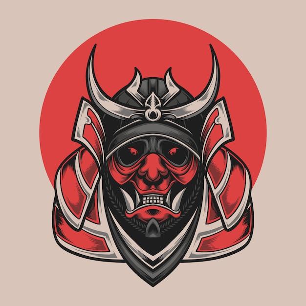 Cabeça de samurai Vetor Premium