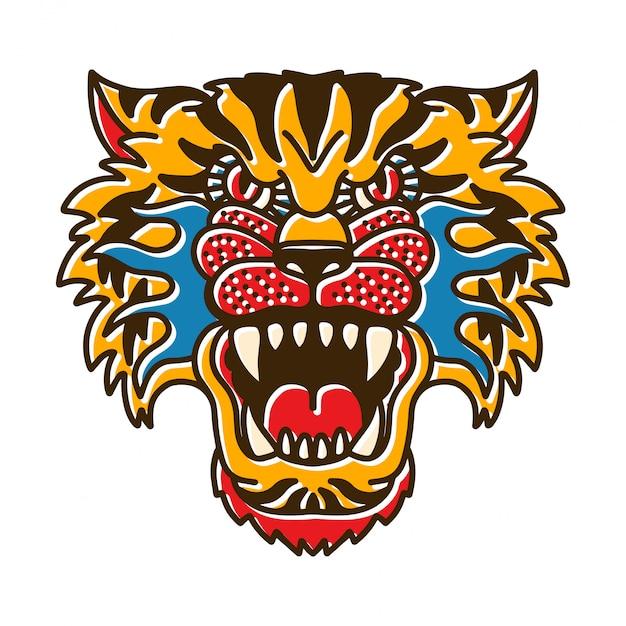 Cabeça de tigre bohotattoo Vetor Premium
