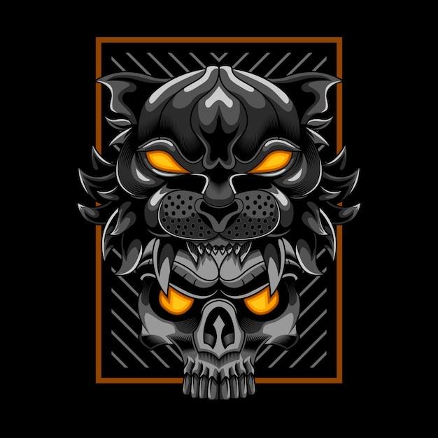 Cabeça de tigre com ilustração vetorial de crânio Vetor Premium