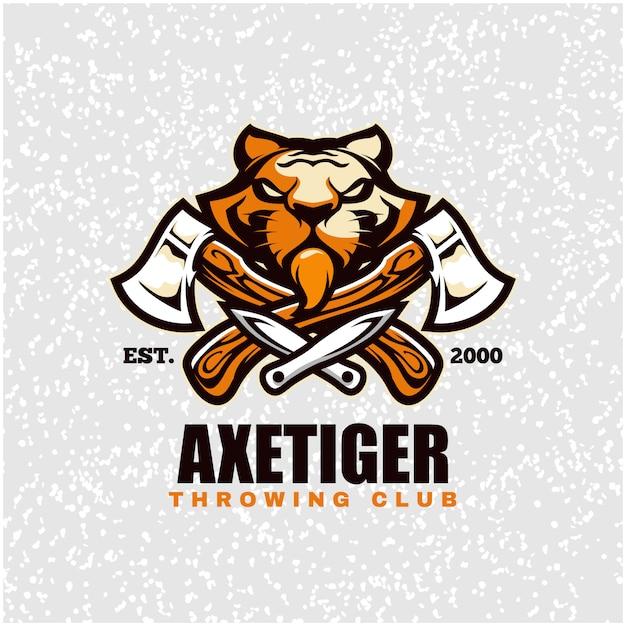 Cabeça de tigre com machados e facas, logotipo do clube de arremesso. Vetor Premium