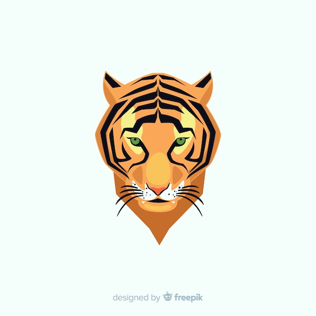 Cabeça de tigre plana Vetor grátis