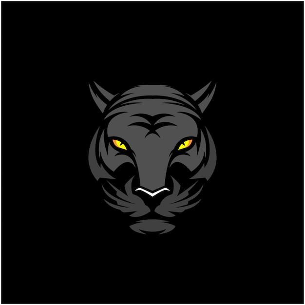 Cabeça de tigre preto clip-art Vetor Premium