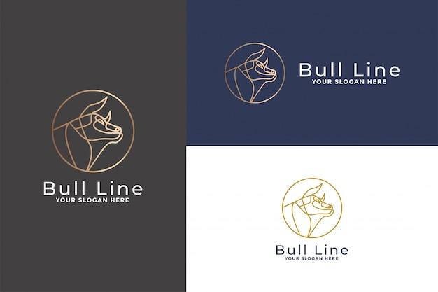 Cabeça de touro linha mono logotipo Vetor Premium