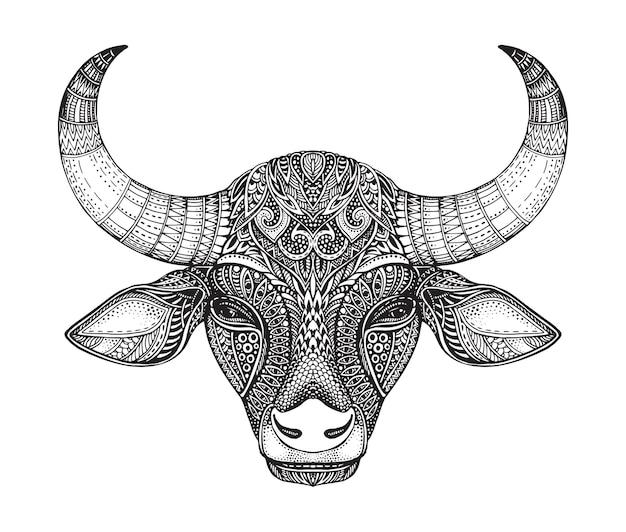 Cabeça de touro padronizada. mão-extraídas ilustração vetorial em estilo doodle ornamentado. Vetor Premium