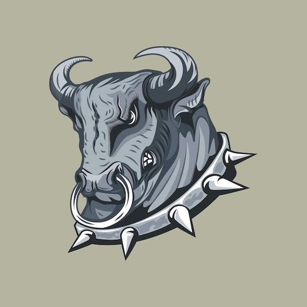 Cabeça de touros em gola cravejada monocromática desenho à mão livre. Vetor Premium