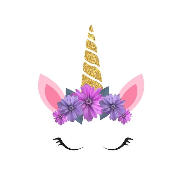 Cabeça de unicórnio fofa e olhos com flor. Vetor Premium