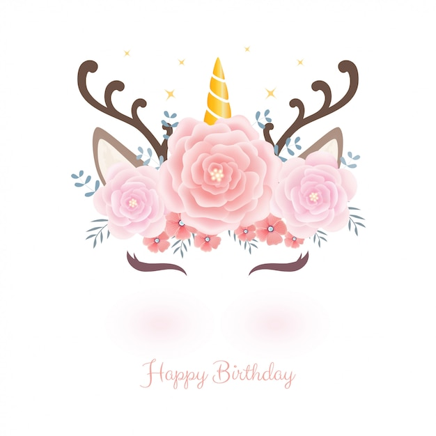 Cabeça de unicórnio fofo com coroa de flores para o aniversário. Vetor Premium
