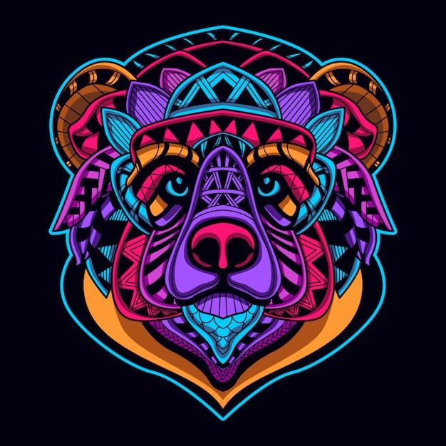 Cabeça de urso de cor de brilho Vetor Premium