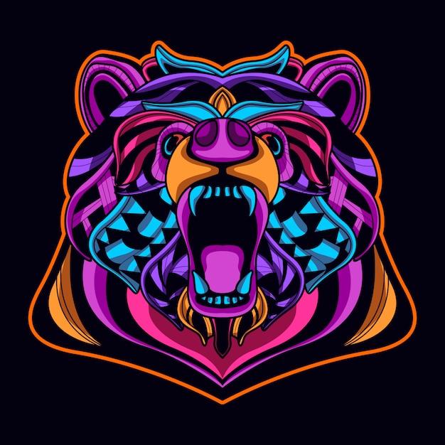Cabeça de urso em estilo de arte de néon cor Vetor Premium