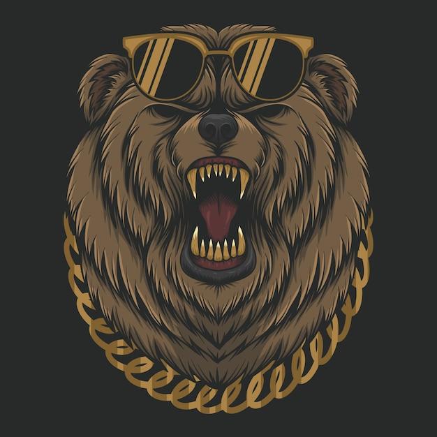 Cabeça de urso legal com raiva Vetor Premium