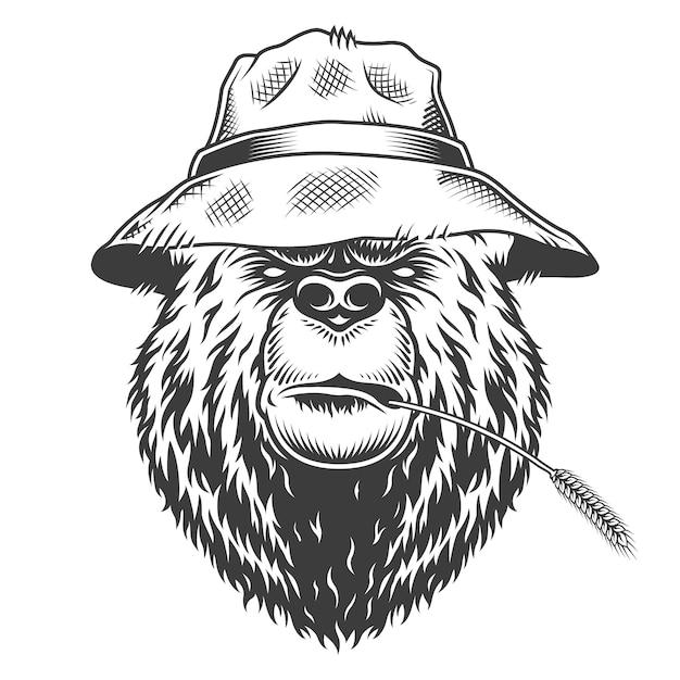 Cabeça de urso sério usando chapéu panamá Vetor grátis