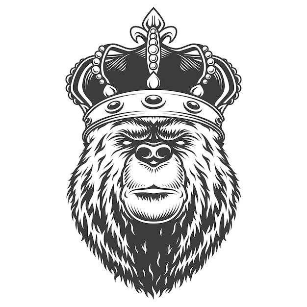 Cabeça de urso vintage na coroa real Vetor grátis