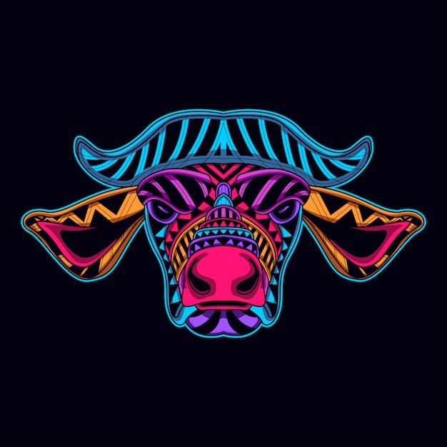 Cabeça de vaca brilhar no escuro Vetor Premium