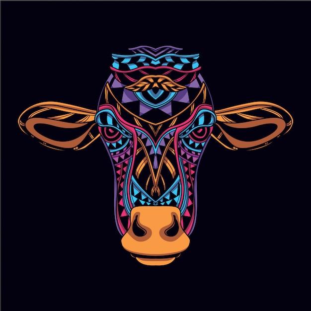 Cabeça de vaca decorativa da cor de néon de brilho Vetor Premium