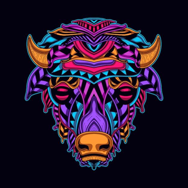 Cabeça de vaca em arte de estilo néon cor Vetor Premium