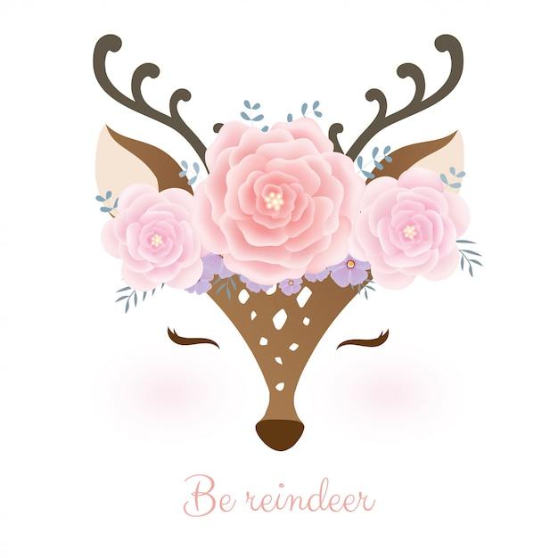 Cabeça de veado bonitinho com coroa de flores. Vetor Premium