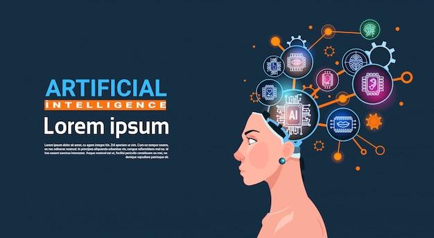 Cabeça feminina, com, ciber, cérebro, roda dentada, e, engrenagens conceito, de, inteligência artificial, bandeira, com, espaço cópia Vetor Premium