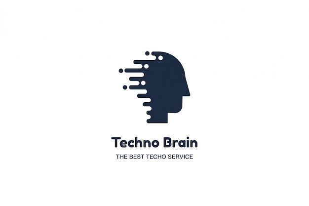 Cabeça humana e chip techno brain multimedia logo Vetor Premium