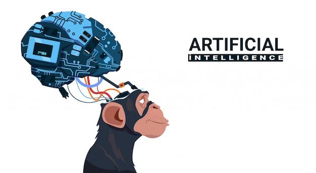 Cabeça macaco, com, modernos, cyborg, cérebro, sobre, fundo branco, inteligência artificial, conceito Vetor Premium