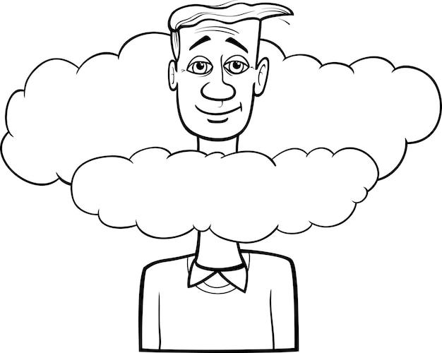 Cabeça nas nuvens dizendo desenhos animados Vetor Premium