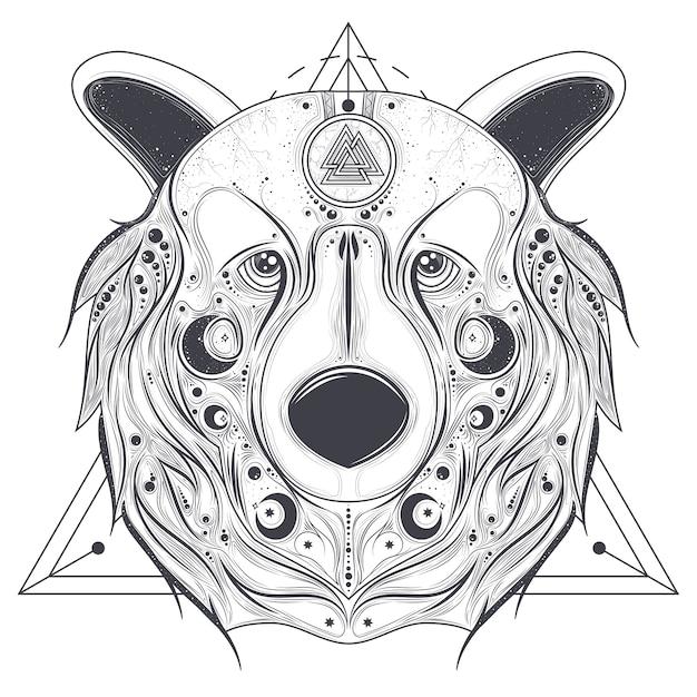 Cabeça ornamental de urso com vetor de arte de linha de valknut Vetor grátis