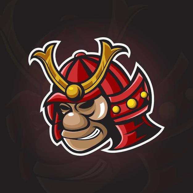 Cabeça samurai macaco com logotipo ilustração Vetor Premium