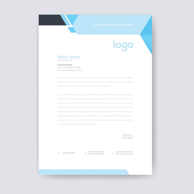Cabeçalho azul abstrato Vetor Premium
