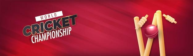 Cabeçalho de campeonato do mundo cricket ou banner design com bola realista brilhante Vetor Premium