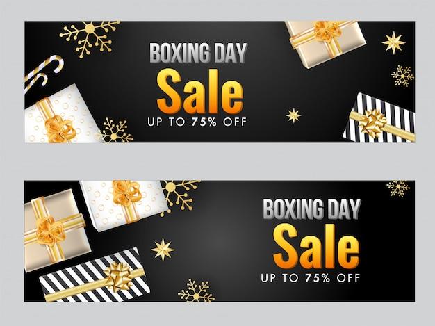 Cabeçalho de venda ou banner com vista superior das caixas de presente Vetor Premium