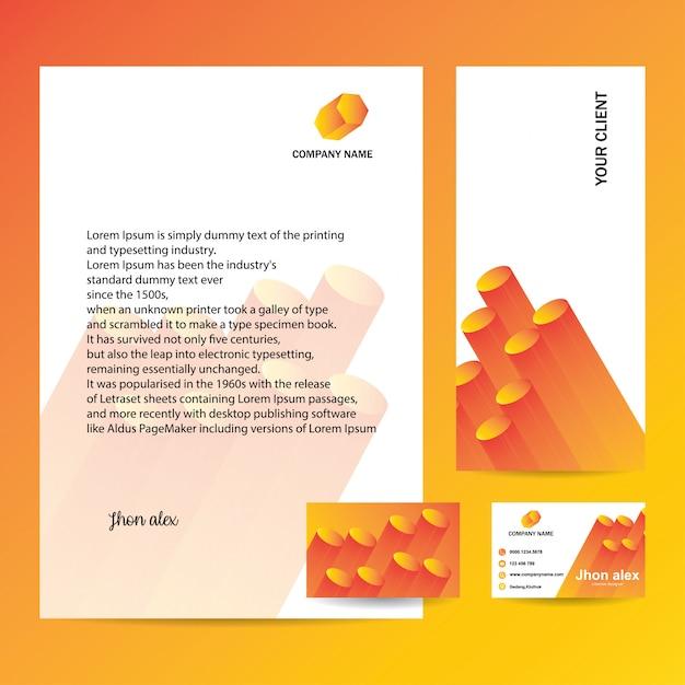 Cabeçalho, envelope e cartão de visita com design moderno Vetor Premium