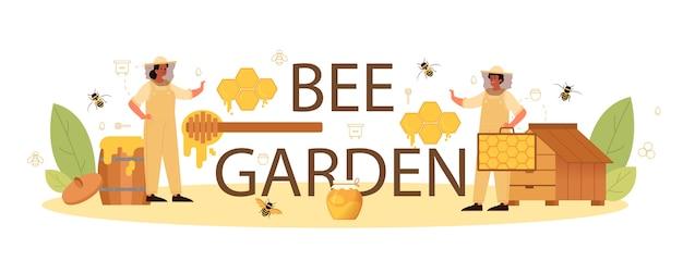 Cabeçalho tipográfico do jardim de abelhas. Vetor Premium